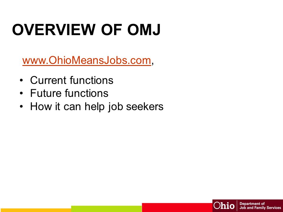 Resources All information and activities mentioned in this PowerPoint can be found on the Ohio Means Jobs Web site at: www.OhioMeansJobs.com