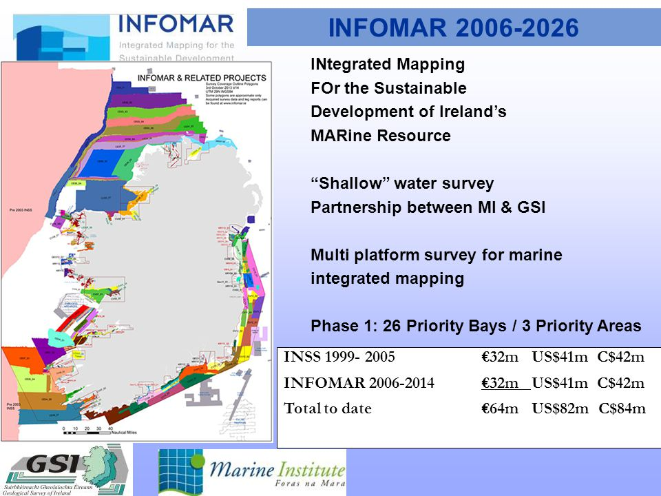 INFOMAR 2006-2026 INtegrated Mapping FOr the Sustainable Development of Ireland's MARine Resource Shallow water survey Partnership between MI & GSI Multi platform survey for marine integrated mapping Phase 1: 26 Priority Bays / 3 Priority Areas INSS 1999- 2005€32m US$41m C$42m INFOMAR 2006-2014€32m US$41m C$42m Total to date€64m US$82m C$84m