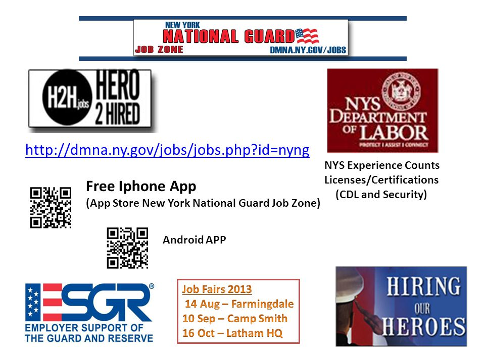 http://dmna.ny.gov/jobs/jobs.php id=nyng NYS Experience Counts Licenses/Certifications (CDL and Security) Free Iphone App (App Store New York National Guard Job Zone) Android APP