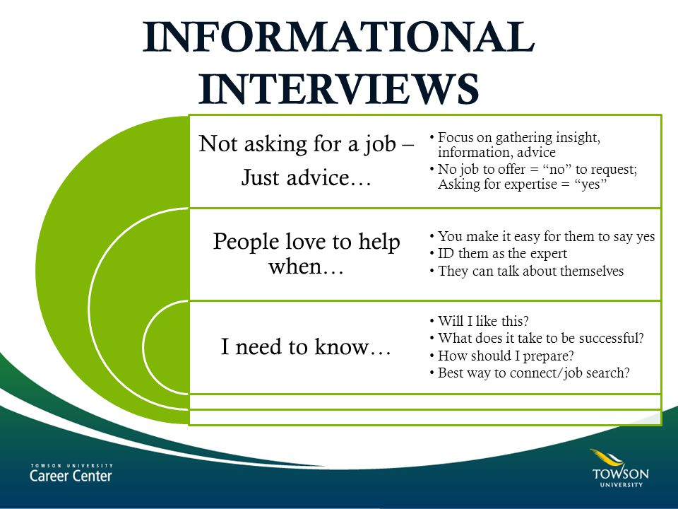 INFORMATIONAL INTERVIEWS Not asking for a job – Just advice… People love to help when… I need to know… Focus on gathering insight, information, advice