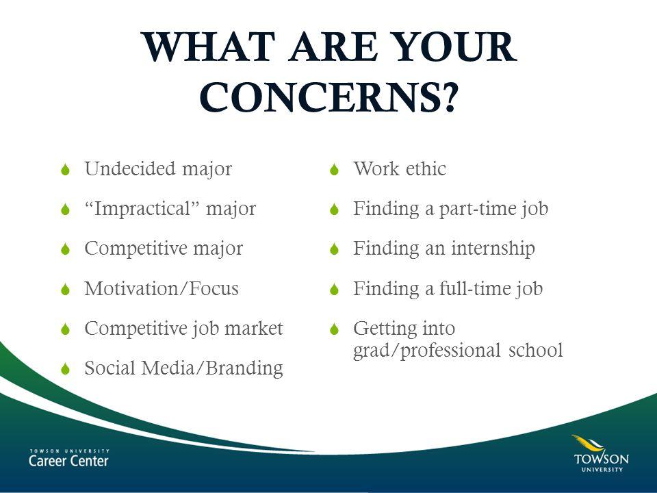 "WHAT ARE YOUR CONCERNS?  Undecided major  ""Impractical"" major  Competitive major  Motivation/Focus  Competitive job market  Social Media/Brandin"