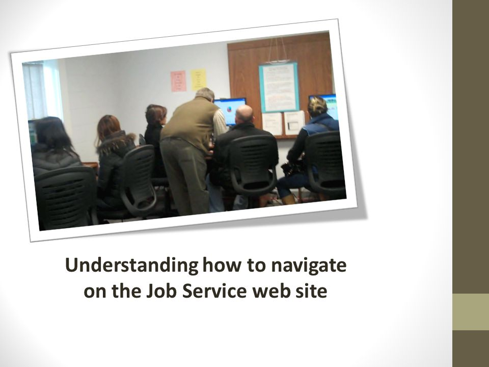 Understanding how to navigate on the Job Service web site