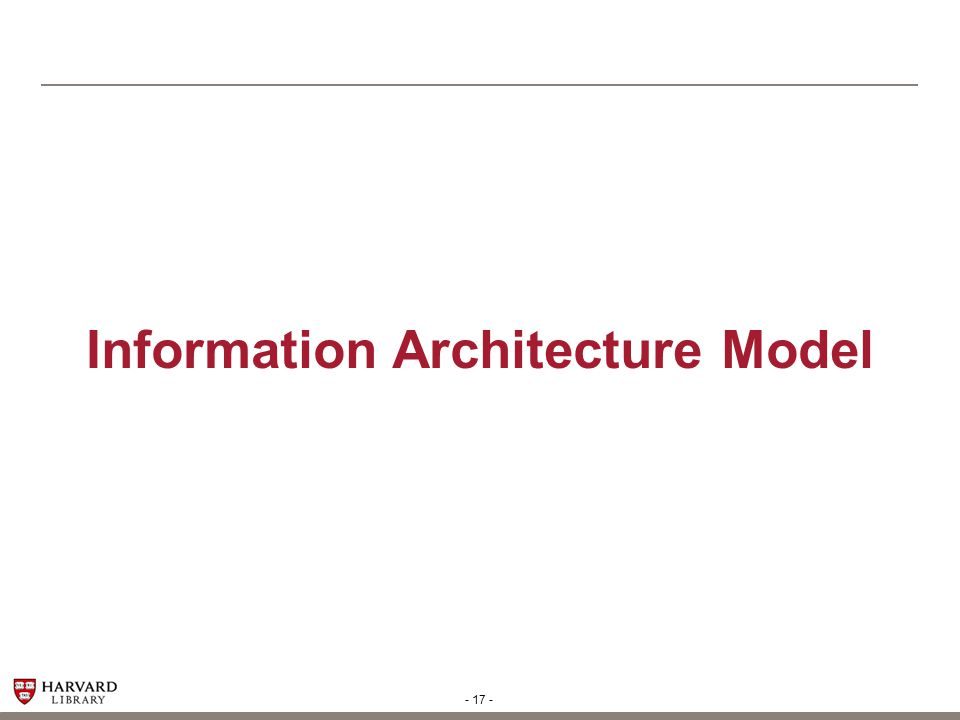 - 18 - Information Architecture Structure The Information Architecture Model follows on the next several pages.