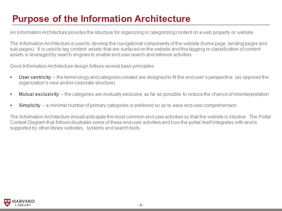 - 6 - Purpose of the Information Architecture An Information Architecture provides the structure for organizing or categorizing content on a web prope
