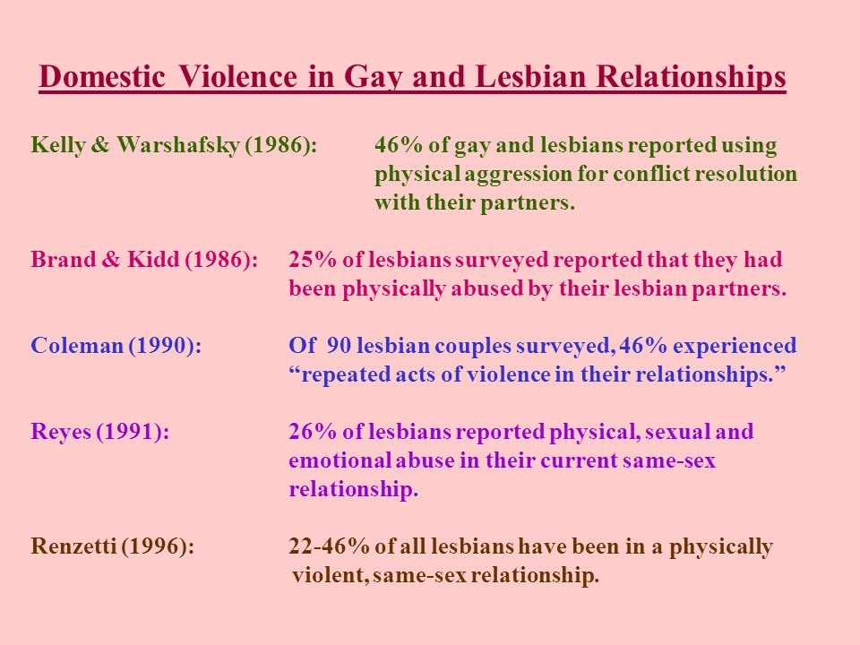 Domestic Violence in Gay and Lesbian Relationships Kelly & Warshafsky (1986): 46% of gay and lesbians reported using physical aggression for conflict resolution with their partners.