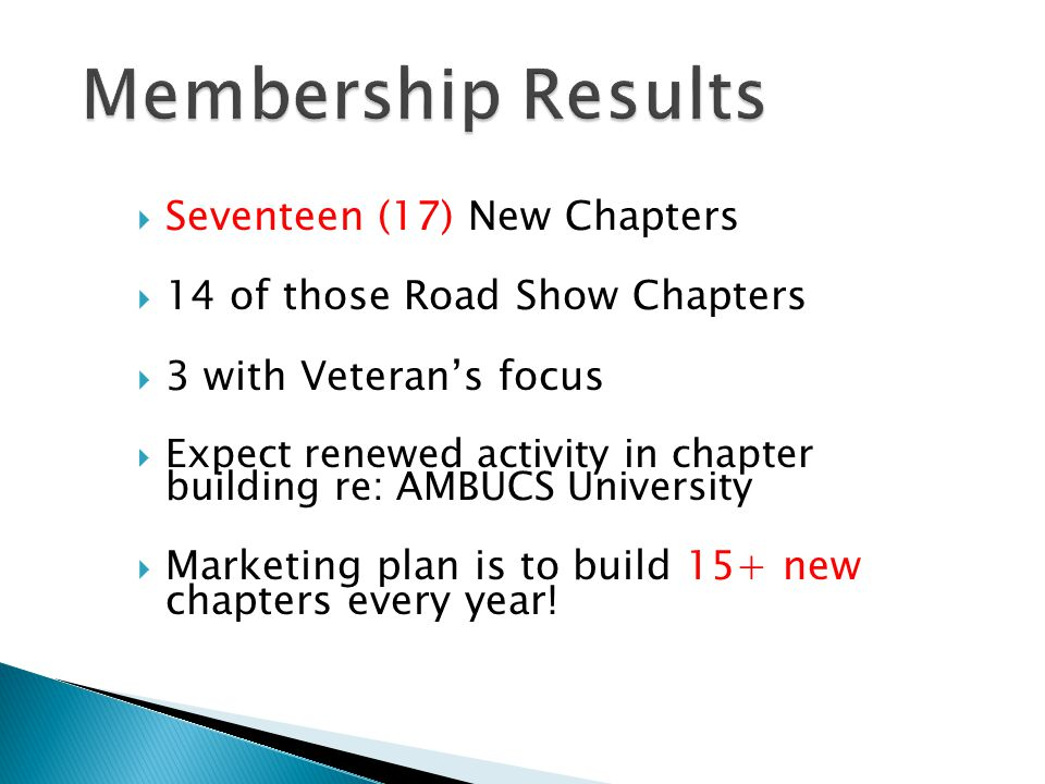  Seventeen (17) New Chapters  14 of those Road Show Chapters  3 with Veteran's focus  Expect renewed activity in chapter building re: AMBUCS University  Marketing plan is to build 15+ new chapters every year!