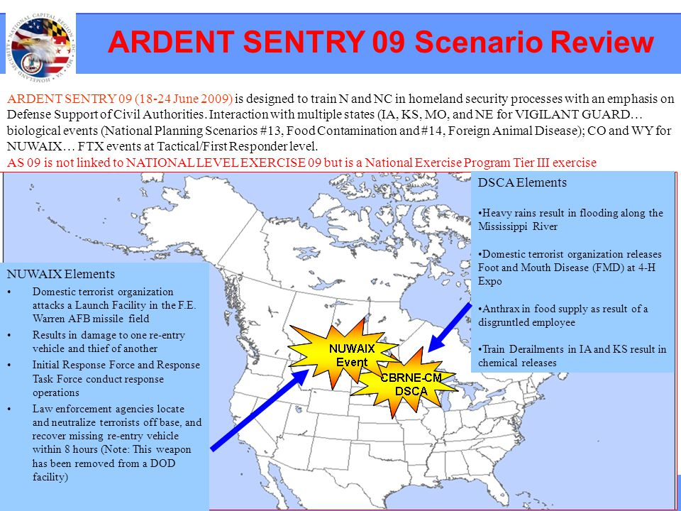ARDENT SENTRY 09 Scenario Review ARDENT SENTRY 09 (18-24 June 2009) is designed to train N and NC in homeland security processes with an emphasis on D