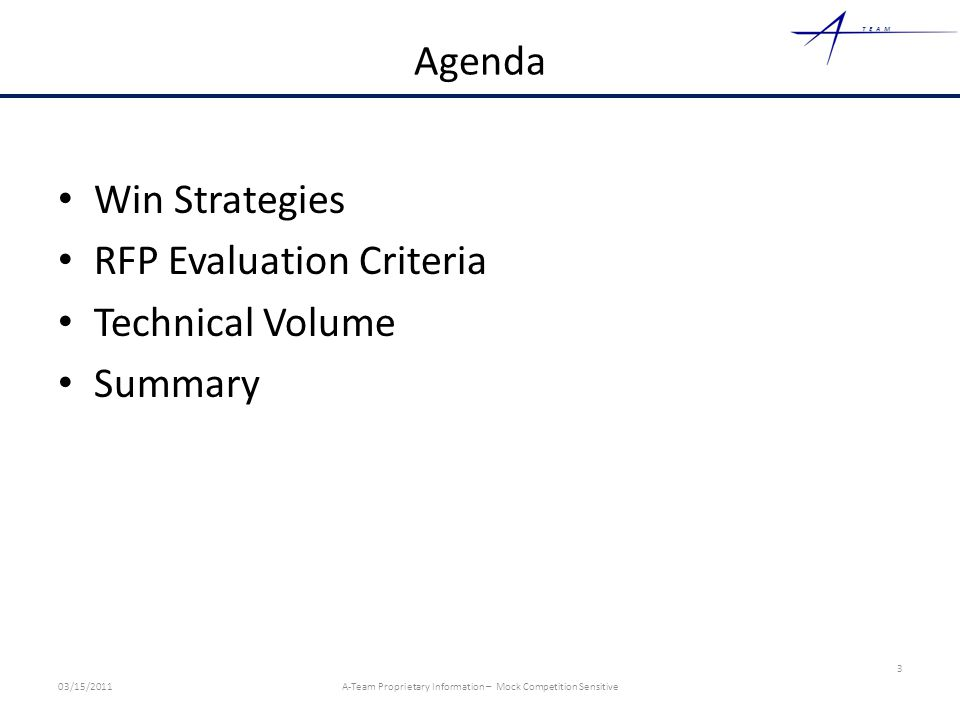 TEAM Agenda Win Strategies RFP Evaluation Criteria Technical Volume Summary 3 03/15/2011A-Team Proprietary Information – Mock Competition Sensitive