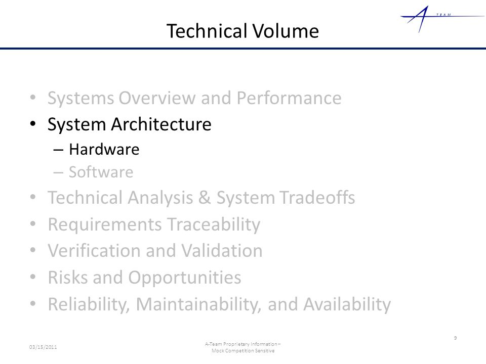TEAM Technical Volume Systems Overview and Performance System Architecture – Hardware – Software Technical Analysis & System Tradeoffs Requirements Tr