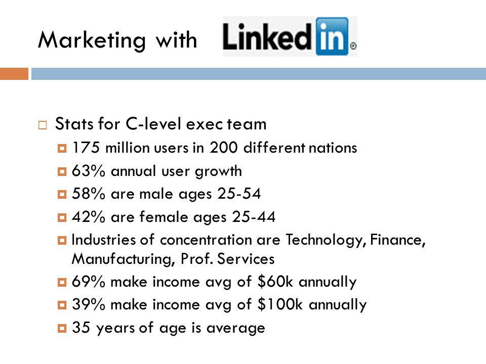  Stats for C-level exec team  175 million users in 200 different nations  63% annual user growth  58% are male ages 25-54  42% are female ages 25-44  Industries of concentration are Technology, Finance, Manufacturing, Prof.