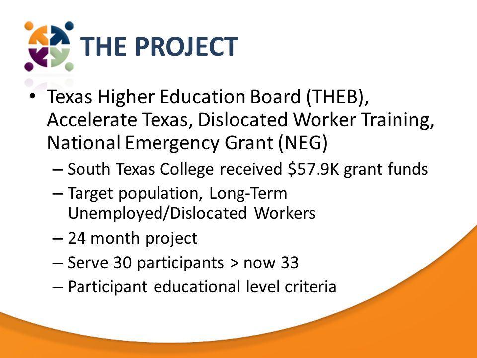 THE PROJECT Texas Higher Education Board (THEB), Accelerate Texas, Dislocated Worker Training, National Emergency Grant (NEG) – South Texas College received $57.9K grant funds – Target population, Long-Term Unemployed/Dislocated Workers – 24 month project – Serve 30 participants > now 33 – Participant educational level criteria