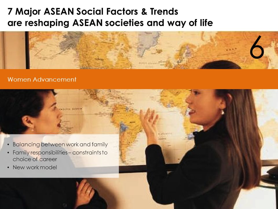6 Women Advancement 7 Major ASEAN Social Factors & Trends are reshaping ASEAN societies and way of life Balancing between work and family Family responsibilities – constraints to choice of career New work model