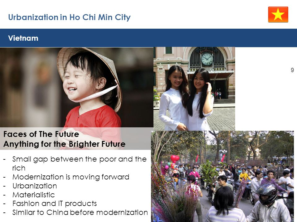 Urbanization in Ho Chi Min City 9 Faces of The Future Anything for the Brighter Future Vietnam -Small gap between the poor and the rich -Modernization is moving forward -Urbanization -Materialistic -Fashion and IT products -Similar to China before modernization
