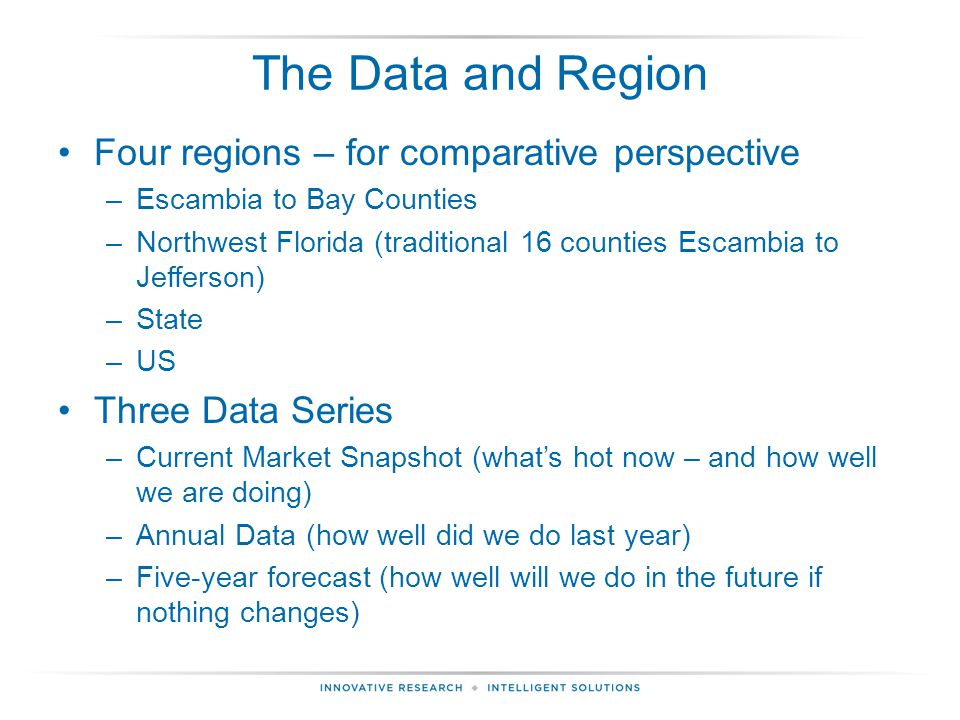 The Data and Region Four regions – for comparative perspective –Escambia to Bay Counties –Northwest Florida (traditional 16 counties Escambia to Jefferson) –State –US Three Data Series –Current Market Snapshot (what's hot now – and how well we are doing) –Annual Data (how well did we do last year) –Five-year forecast (how well will we do in the future if nothing changes)