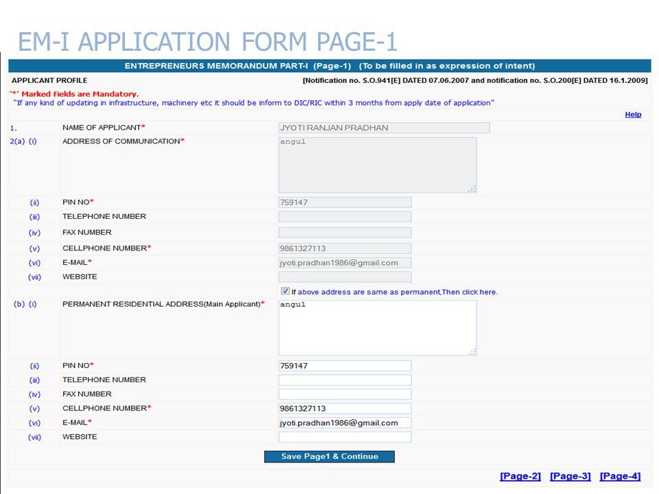 EM-I APPLICATION FORM PAGE-1