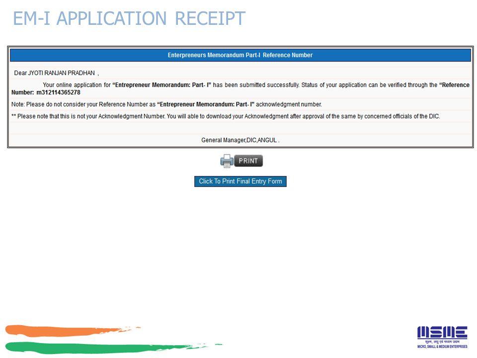 EM-I APPLICATION RECEIPT