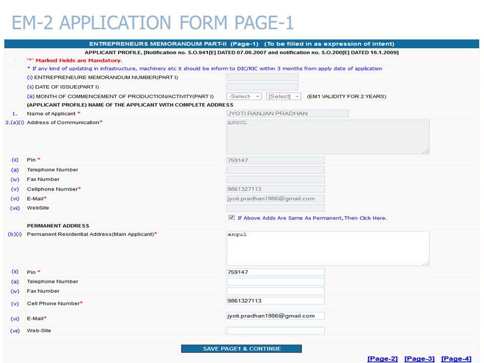 EM-2 APPLICATION FORM PAGE-1