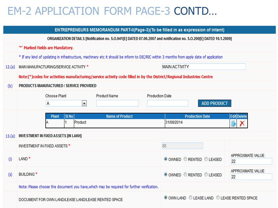 EM-2 APPLICATION FORM PAGE-3 CONTD…