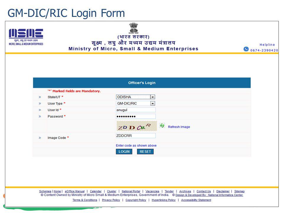 GM-DIC/RIC Login Form