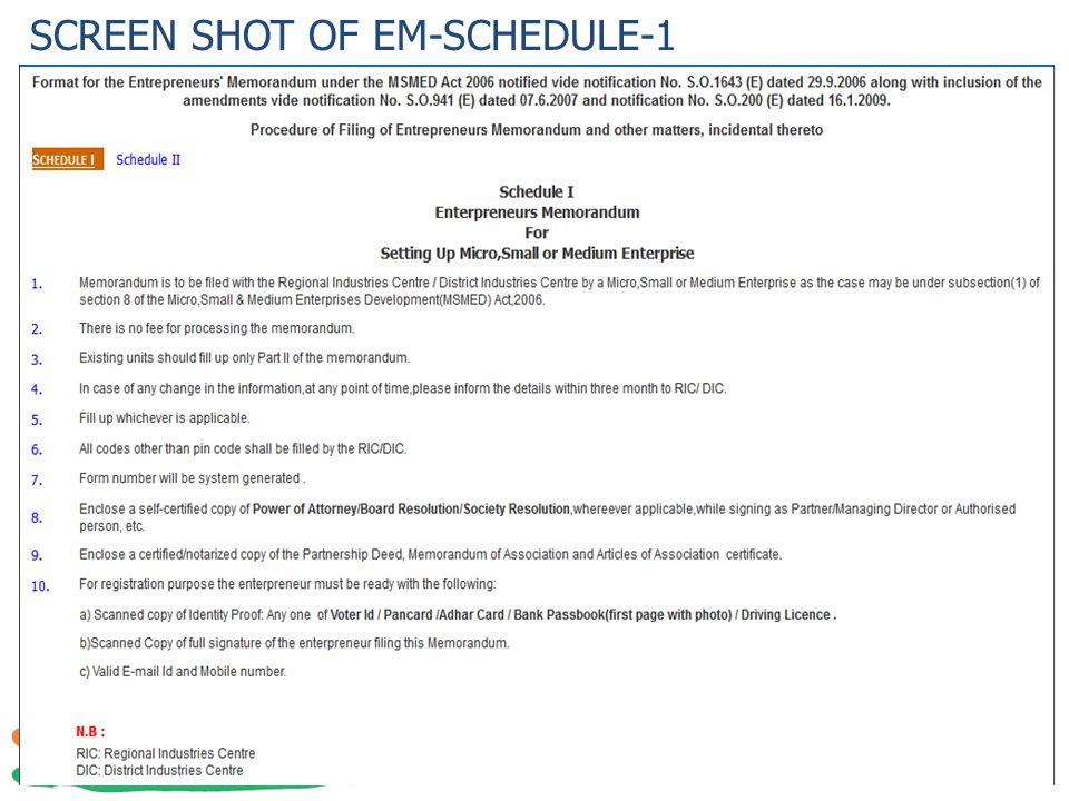 SCREEN SHOT OF EM-SCHEDULE-1