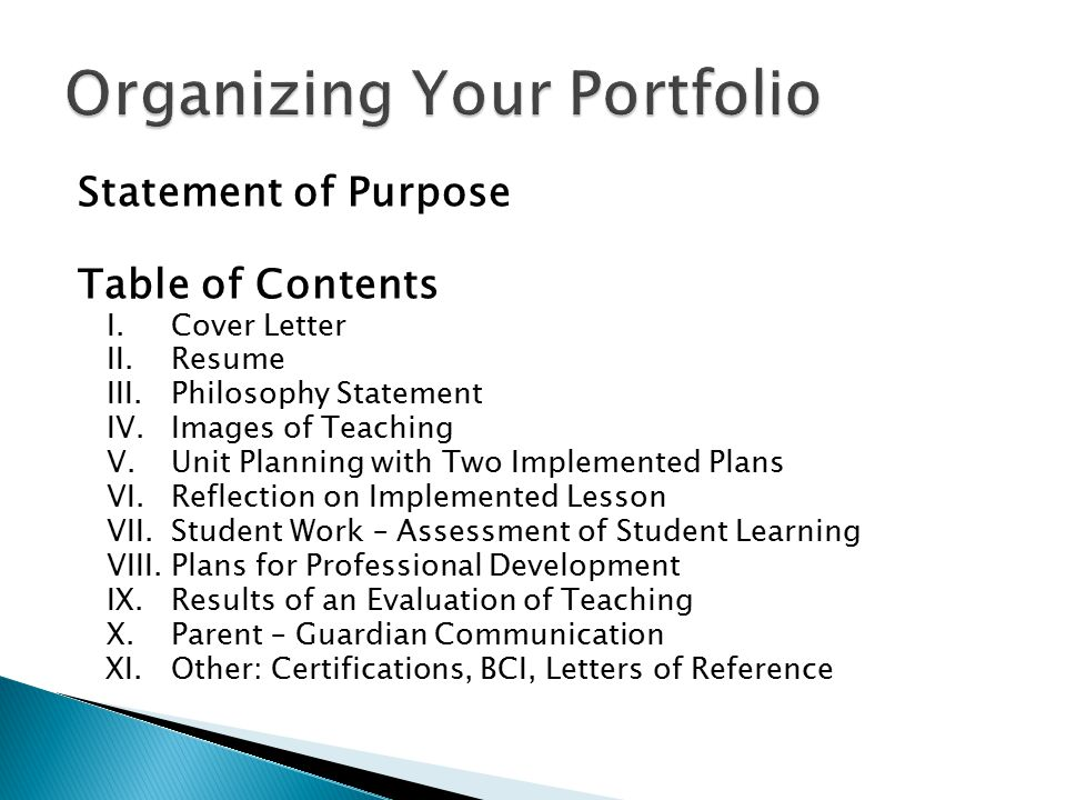 Statement of Purpose Table of Contents I. Cover Letter II. Resume III. Philosophy Statement IV. Images of Teaching V. Unit Planning with Two Implement