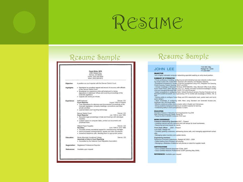 R ESUME Resume Sample