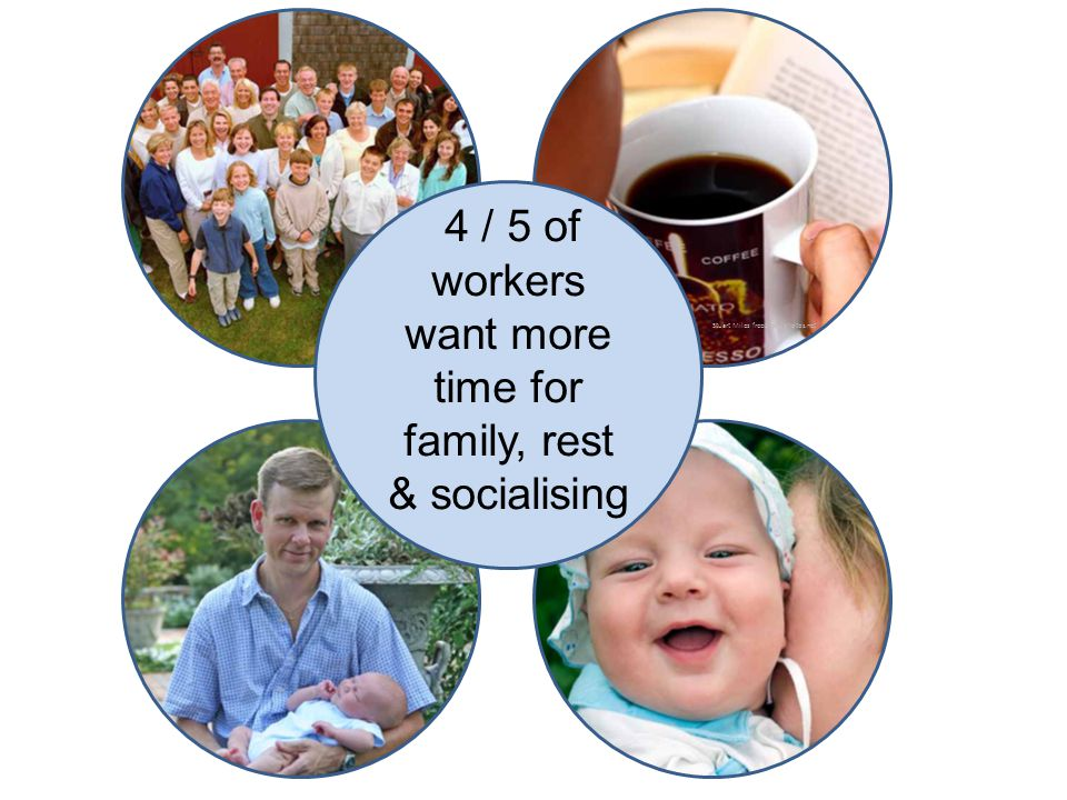 Stuart Miles freedigitalphotos.net 4 / 5 of workers want more time for family, rest & socialising
