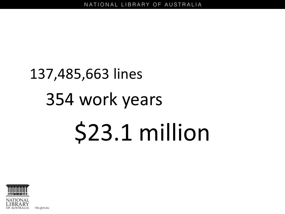 137,485,663 lines 354 work years $23.1 million
