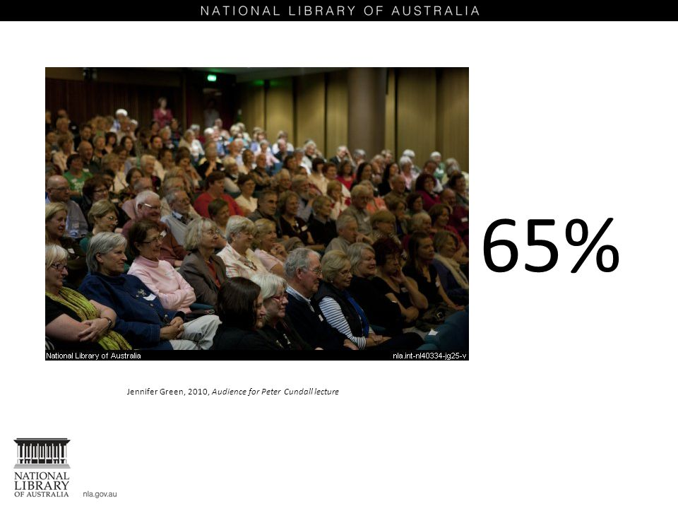 Jennifer Green, 2010, Audience for Peter Cundall lecture 65%