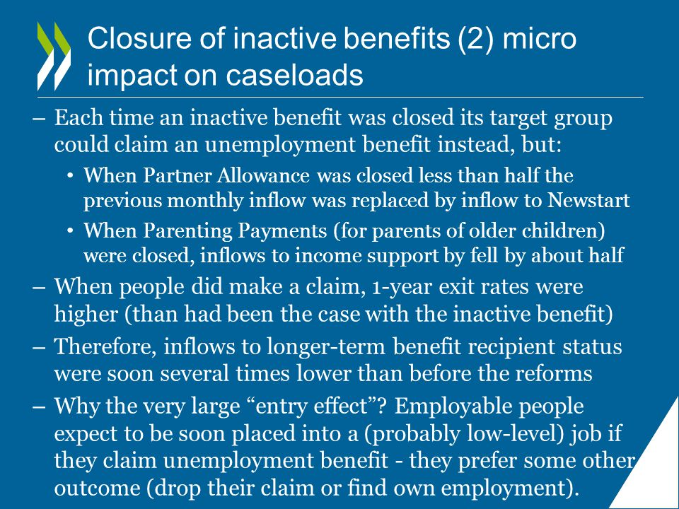 Closure of inactive benefits (2) micro impact on caseloads – Each time an inactive benefit was closed its target group could claim an unemployment benefit instead, but: When Partner Allowance was closed less than half the previous monthly inflow was replaced by inflow to Newstart When Parenting Payments (for parents of older children) were closed, inflows to income support by fell by about half – When people did make a claim, 1-year exit rates were higher (than had been the case with the inactive benefit) – Therefore, inflows to longer-term benefit recipient status were soon several times lower than before the reforms – Why the very large entry effect .