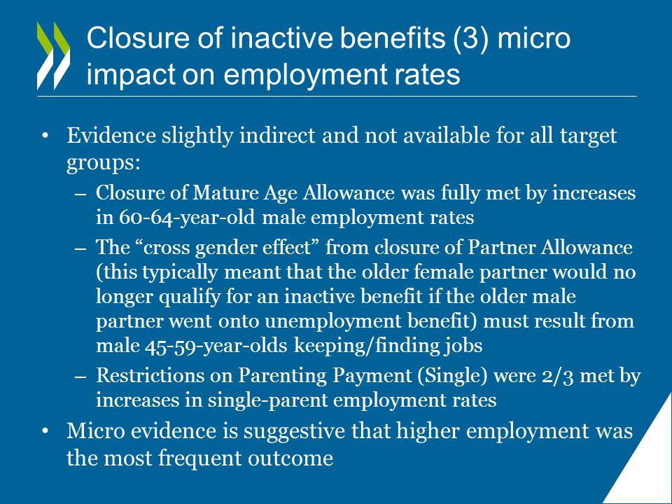 Closure of inactive benefits (3) micro impact on employment rates Evidence slightly indirect and not available for all target groups: – Closure of Mature Age Allowance was fully met by increases in 60-64-year-old male employment rates – The cross gender effect from closure of Partner Allowance (this typically meant that the older female partner would no longer qualify for an inactive benefit if the older male partner went onto unemployment benefit) must result from male 45-59-year-olds keeping/finding jobs – Restrictions on Parenting Payment (Single) were 2/3 met by increases in single-parent employment rates Micro evidence is suggestive that higher employment was the most frequent outcome