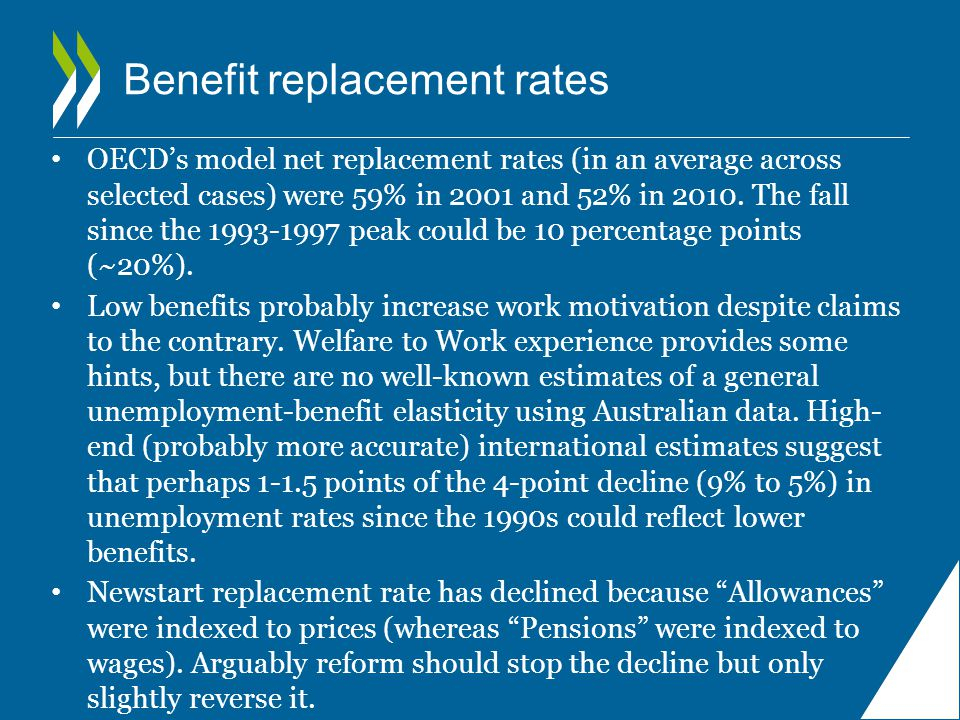 Benefit replacement rates OECD's model net replacement rates (in an average across selected cases) were 59% in 2001 and 52% in 2010.