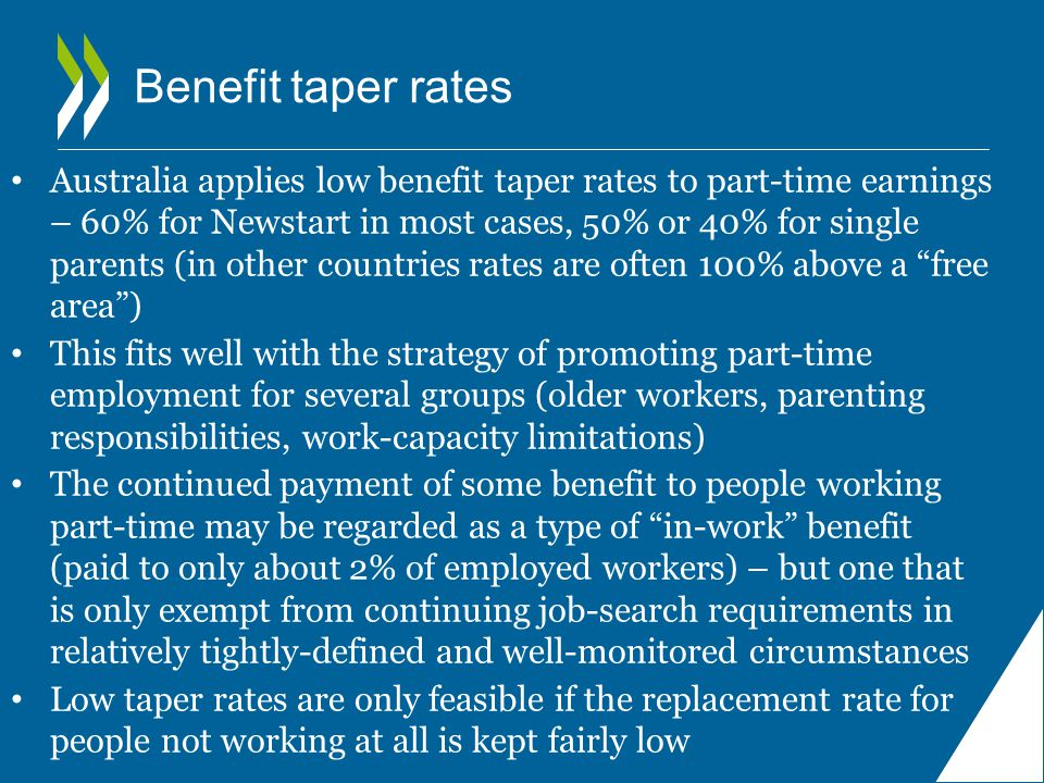 Benefit taper rates Australia applies low benefit taper rates to part-time earnings – 60% for Newstart in most cases, 50% or 40% for single parents (in other countries rates are often 100% above a free area ) This fits well with the strategy of promoting part-time employment for several groups (older workers, parenting responsibilities, work-capacity limitations) The continued payment of some benefit to people working part ‑ time may be regarded as a type of in-work benefit (paid to only about 2% of employed workers) – but one that is only exempt from continuing job-search requirements in relatively tightly-defined and well-monitored circumstances Low taper rates are only feasible if the replacement rate for people not working at all is kept fairly low