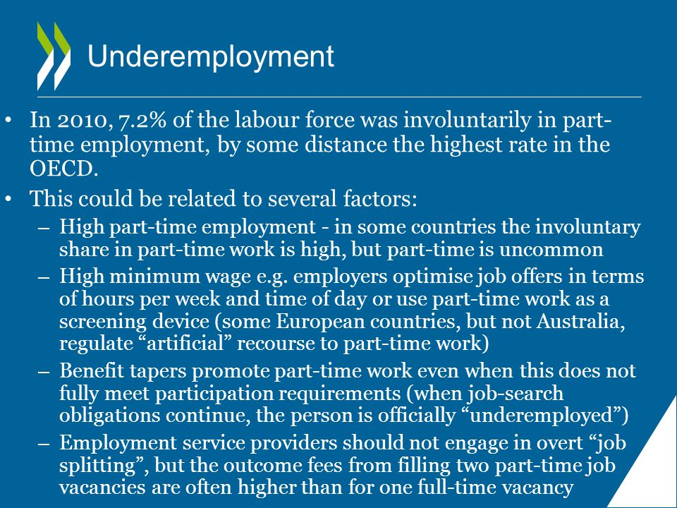 Underemployment In 2010, 7.2% of the labour force was involuntarily in part- time employment, by some distance the highest rate in the OECD.