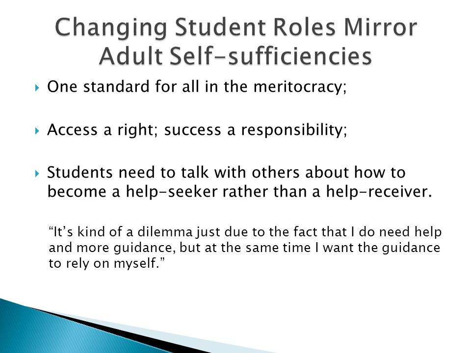  One standard for all in the meritocracy;  Access a right; success a responsibility;  Students need to talk with others about how to become a help-seeker rather than a help-receiver.