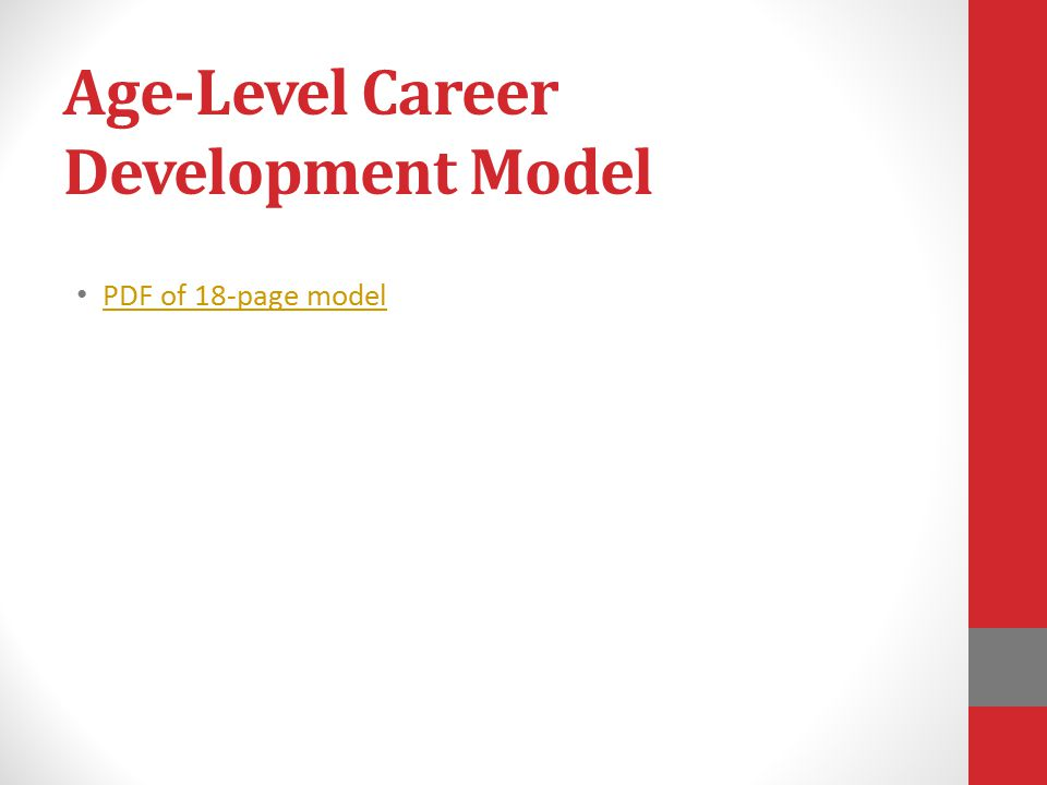 Age-Level Career Development Model PDF of 18-page model