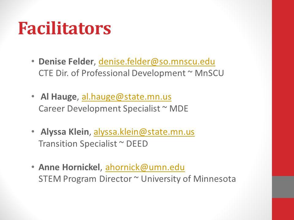 Facilitators Denise Felder, denise.felder@so.mnscu.edu CTE Dir. of Professional Development ~ MnSCUdenise.felder@so.mnscu.edu Al Hauge, al.hauge@state