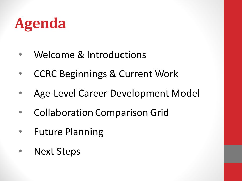 Agenda Welcome & Introductions CCRC Beginnings & Current Work Age-Level Career Development Model Collaboration Comparison Grid Future Planning Next Steps