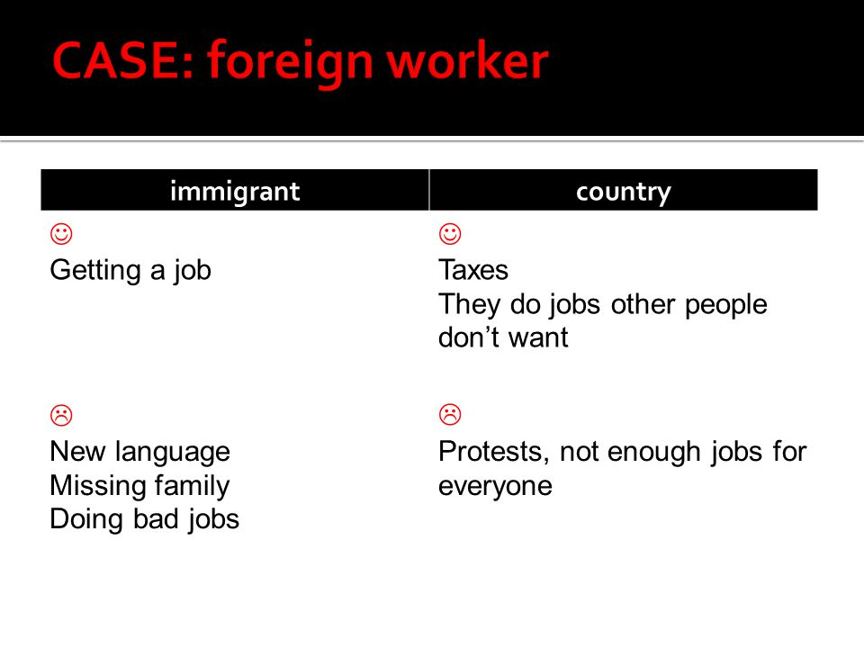 immigrantcountry Getting a job Taxes They do jobs other people don't want  New language Missing family Doing bad jobs  Protests, not enough jobs for everyone
