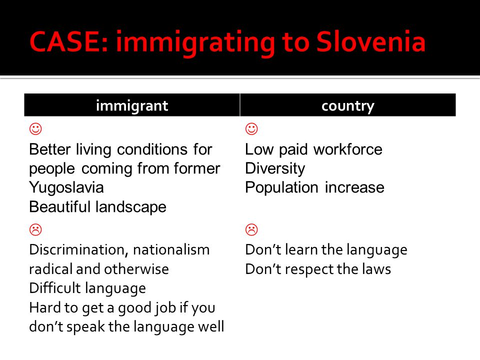 immigrantcountry Better living conditions for people coming from former Yugoslavia Beautiful landscape Low paid workforce Diversity Population increase  Discrimination, nationalism radical and otherwise Difficult language Hard to get a good job if you don't speak the language well  Don't learn the language Don't respect the laws