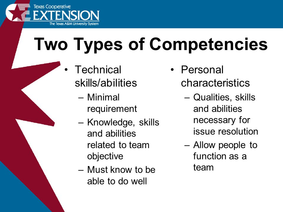 Technical skills/abilities –Minimal requirement –Knowledge, skills and abilities related to team objective –Must know to be able to do well Personal characteristics –Qualities, skills and abilities necessary for issue resolution –Allow people to function as a team Two Types of Competencies