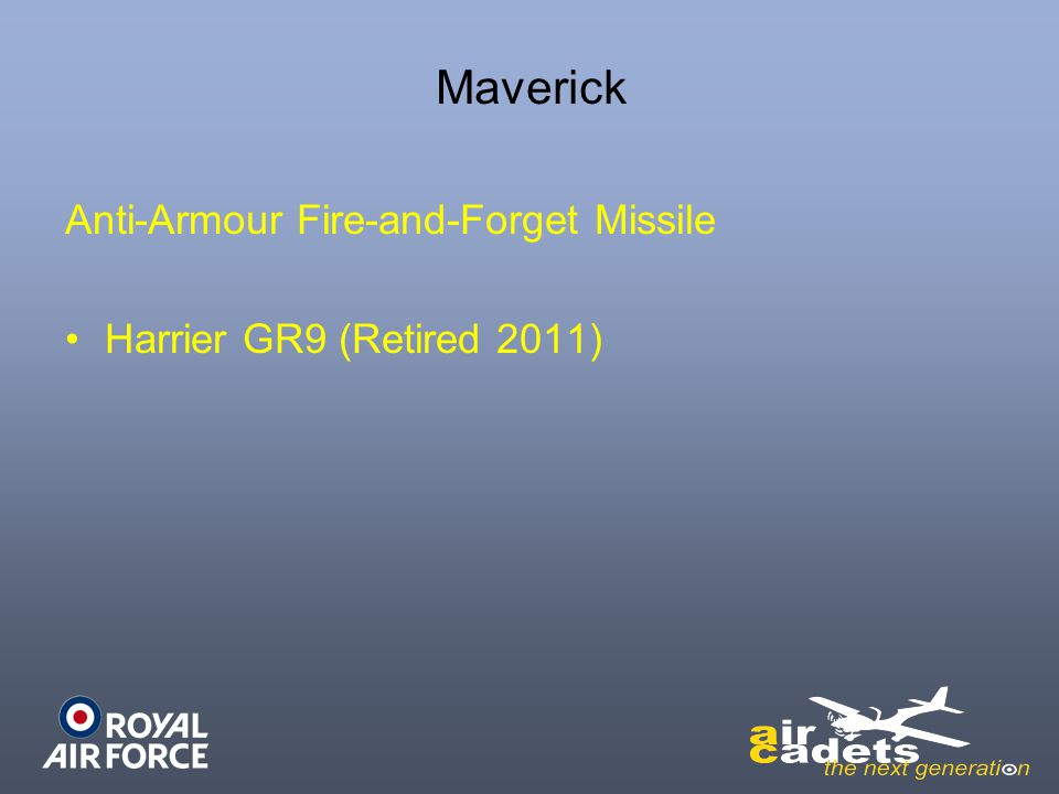 Anti-Armour Fire-and-Forget Missile Harrier GR9 (Retired 2011)