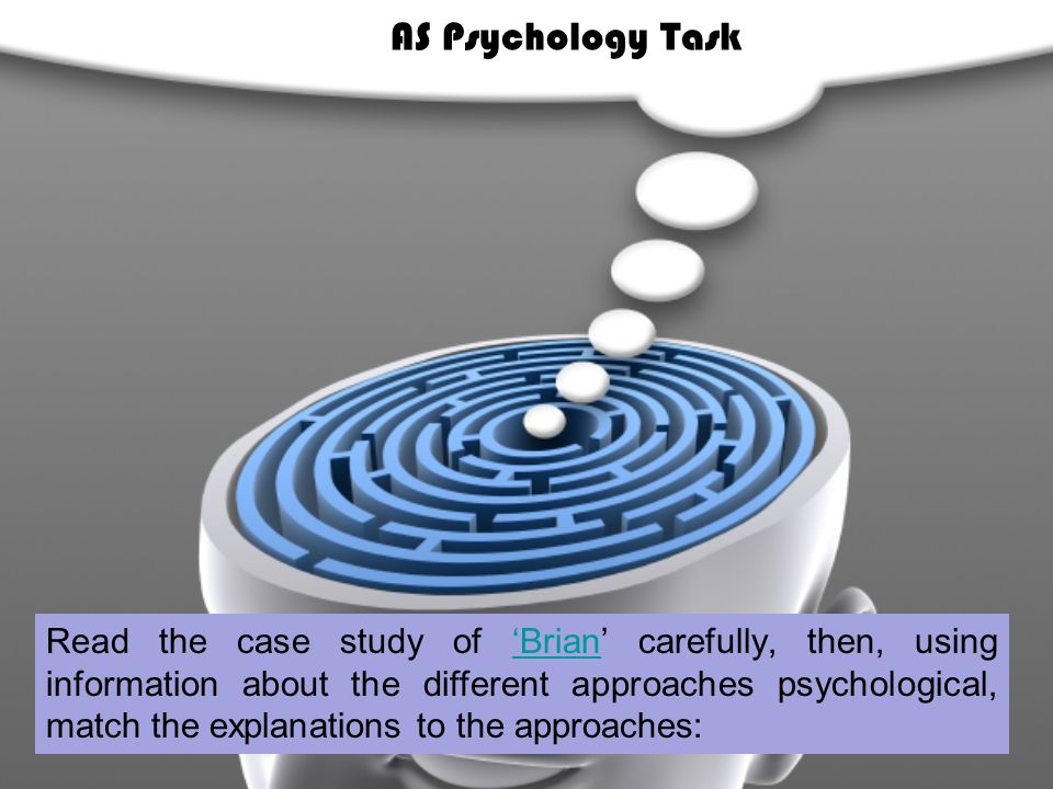 Read the case study of 'Brian' carefully, then, using information about the different approaches psychological, match the explanations to the approaches:'Brian AS Psychology Task
