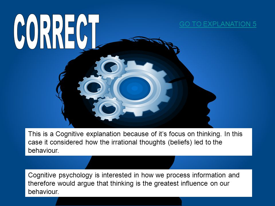This is a Cognitive explanation because of it's focus on thinking.