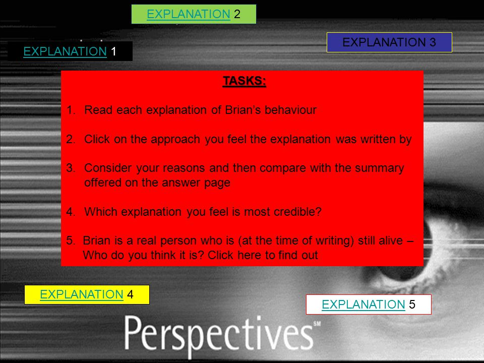 EXPLANATIONEXPLANATION 1 EXPLANATION 3 EXPLANATIONEXPLANATION 5 EXPLANATIONEXPLANATION 4 EXPLANATIONEXPLANATION 2 TASKS: 1.Read each explanation of Brian's behaviour 2.Click on the approach you feel the explanation was written by 3.Consider your reasons and then compare with the summary offered on the answer page 4.Which explanation you feel is most credible.