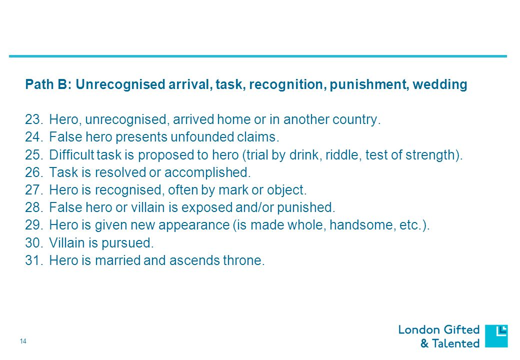 14 Path B: Unrecognised arrival, task, recognition, punishment, wedding 23.Hero, unrecognised, arrived home or in another country.