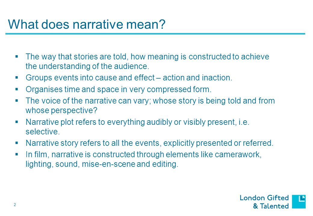 2 What does narrative mean.