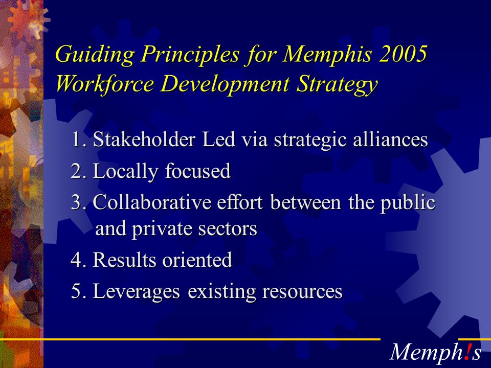 Memph!s The Memphis Area Chamber of Commerce Workforce Development Vision: For the Business Community to be the leader in Workforce Development creating and sustaining economic growth for our members and the communities in our region