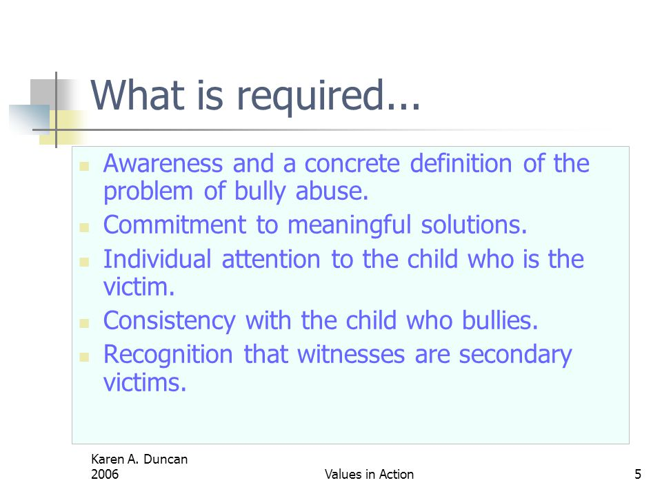 Karen A.Duncan 2006Values in Action5 What is required...