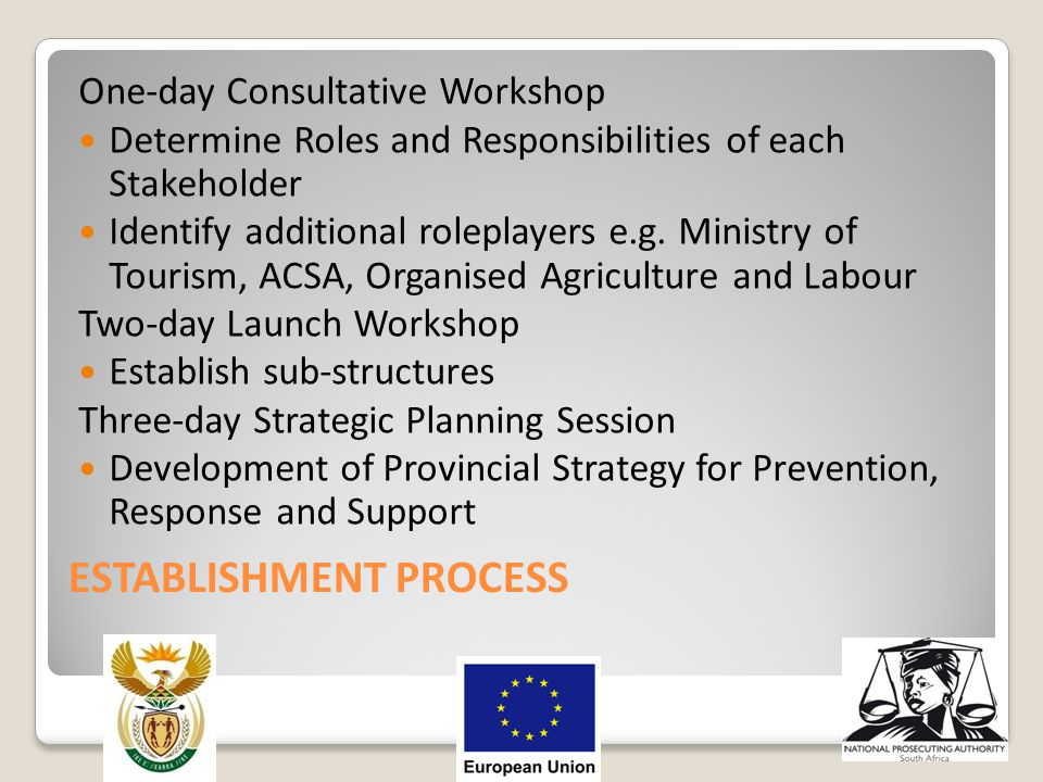 ESTABLISHMENT PROCESS One-day Consultative Workshop Determine Roles and Responsibilities of each Stakeholder Identify additional roleplayers e.g. Mini
